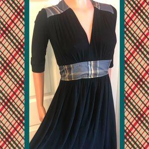 Vintage Black & Plaid Dress, small / medium